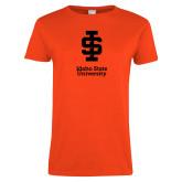 Ladies Orange T Shirt-Instituional Mark Stacked