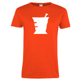 Ladies Orange T Shirt-College of Pharmacy Mortar