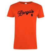 Ladies Orange T Shirt-Script Bengals