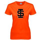 Ladies Orange T Shirt-Interlocking IS