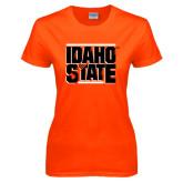Ladies Orange T Shirt-Idaho State Block