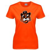 Ladies Orange T Shirt-Vintage Mascot Head