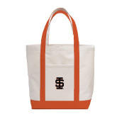 Contender White/Orange Canvas Tote-Interlocking IS