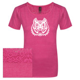 Ladies Dark Fuchsia Heather Tri-Blend Lace Tee-Bengal Head