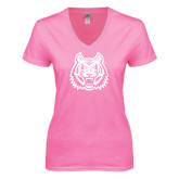 Next Level Ladies Junior Fit Ideal V Pink Tee-Bengal Head
