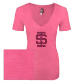Next Level Ladies Vintage Pink Tri Blend V-Neck Tee-Interlocking IS Glitter