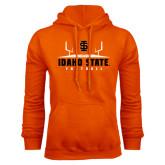Orange Fleece Hoodie-Football Field Design