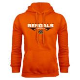 Orange Fleece Hoodie-Football Ball Design