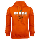 Orange Fleece Hood-Basketball Net Design
