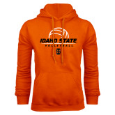 Orange Fleece Hoodie-Volleyball Ball Design