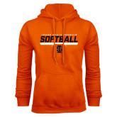 Orange Fleece Hoodie-Softball Bar Design