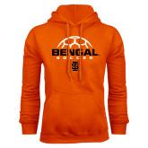 Orange Fleece Hoodie-Soccer Ball Design