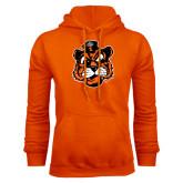 Orange Fleece Hoodie-Vintage Mascot Head
