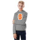 Youth Under Armour Grey Fleece Hoodie-Interlocking IS - Two Color