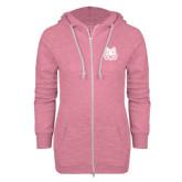 ENZA Ladies Hot Pink Marled Full Zip Hoodie-Bengal Head