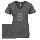 ENZA Ladies Graphite Melange V Neck Tee-Interlocking IS Glitter