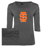Ladies Charcoal Heather Tri Blend Lace 3/4 Sleeve Tee-Interlocking IS