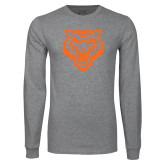 Grey Long Sleeve T Shirt-Primary Athletics Mark - One Color