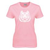 Ladies Pink T-Shirt-Bengal Head