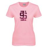 Ladies Pink T-Shirt-Interlocking IS Foil