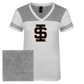 Ladies White/Heathered Nickel Juniors Varsity V Neck Tee-Interlocking IS