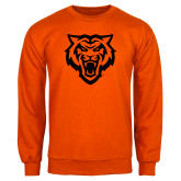 Orange Fleece Crew-Primary Athletics Mark - One Color
