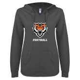 ENZA Ladies Dark Heather V Notch Raw Edge Fleece Hoodie-Football