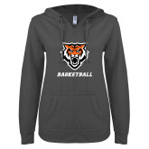 ENZA Ladies Dark Heather V Notch Raw Edge Fleece Hoodie-Basketball