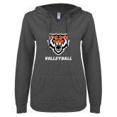 ENZA Ladies Dark Heather V Notch Raw Edge Fleece Hoodie-Volleyball