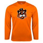 Syntrel Performance Orange Longsleeve Shirt-Vintage Mascot Head