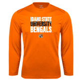 Performance Orange Longsleeve Shirt-Idaho State University Bengals Stacked