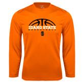 Performance Orange Longsleeve Shirt-Basketball Ball Design