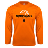 Performance Orange Longsleeve Shirt-Volleyball Ball Design
