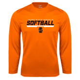 Syntrel Performance Orange Longsleeve Shirt-Softball Bar Design