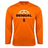 Performance Orange Longsleeve Shirt-Soccer Ball Design