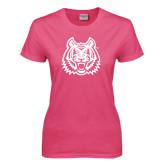 Ladies Fuchsia T Shirt-Bengal Head