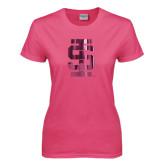 Ladies Fuchsia T Shirt-Interlocking IS Foil