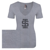 Next Level Ladies Vintage Heather Tri Blend V Neck Tee-Interlocking IS Glitter