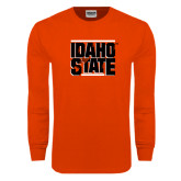Orange Long Sleeve T Shirt-Idaho State Block