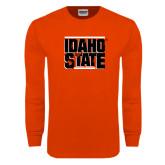 Orange Long Sleeve T Shirt-Idaho State Block