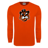Orange Long Sleeve T Shirt-Vintage Mascot Head