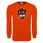 Orange Long Sleeve T Shirt-Vintage Mascot Head