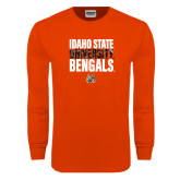 Orange Long Sleeve T Shirt-Idaho State University Bengals Stacked