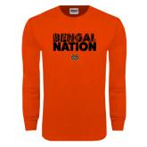 Orange Long Sleeve T Shirt-Bengal Nation