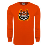 Orange Long Sleeve T Shirt-Bengal Head Distressed