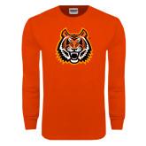 Orange Long Sleeve T Shirt-Bengal Head Distressed