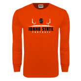 Orange Long Sleeve T Shirt-Football Field Design