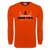 Orange Long Sleeve T Shirt-Football Field Design