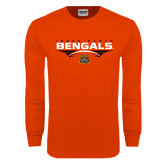 Orange Long Sleeve T Shirt-Football Ball Design