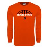 Orange Long Sleeve T Shirt-Basketball Ball Design